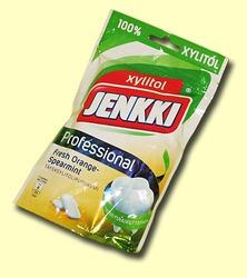 Jenkki Professional. Жевательная резинка с ксилитолом Свежесть апельсина и мяты